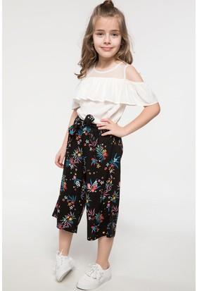 Defacto Kuşak Bağlama Detaylı Çiçek Desenli Pantolon