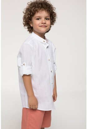 Defacto Hakim Yaka Katlanabilir Kol Detaylı Genç Erkek Gömlek