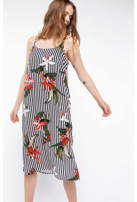 Defacto İnce Askılı Çiçek Desenli Çizgili Elbise