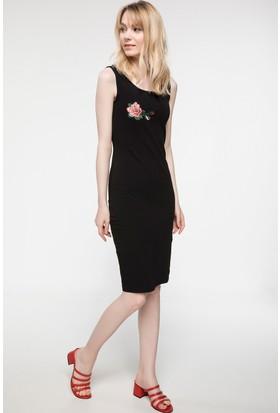Defacto İşleme Detaylı Kalın Askılı Elbise