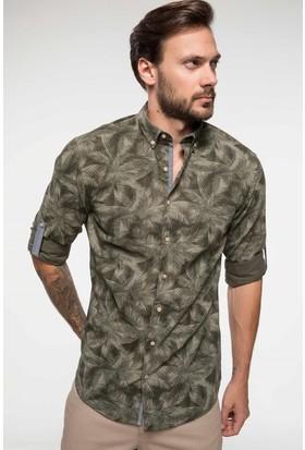 Defacto Katlanabilir Kol Detaylı Floral Desenli Slim Fit Gömlek