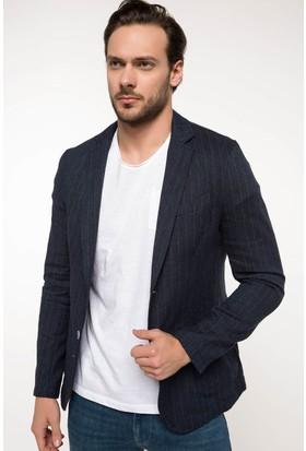 Defacto Keten Karışım Çizgili Blazer Ceket