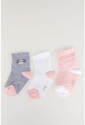 Defacto Kız Bebek 3'lü Basic Çorap