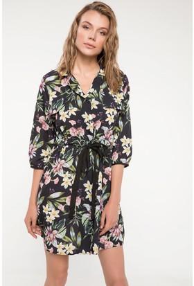 Defacto Kuşak Detaylı Çiçek Desenli Elbise