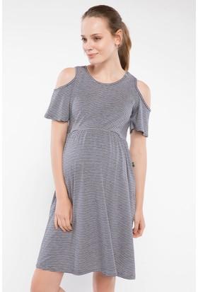 Defacto Omuz Dekolte Detaylı Çizgili Hamile Elbise