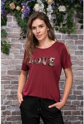 Defacto Omuz Pencere Detaylı Yazı Baskılı T-Shirt