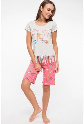 Defacto Püskül Detaylı Baskılı Pijama Takım