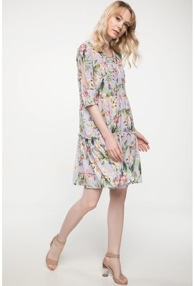 Defacto Tropik Desenli Krep Elbise
