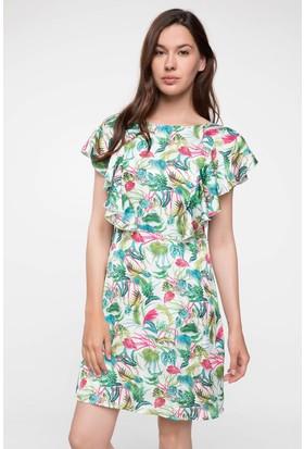 Defacto Tropik Desenli Saten Elbise