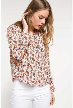 Defacto Uzun Kollu Desenli Bluz