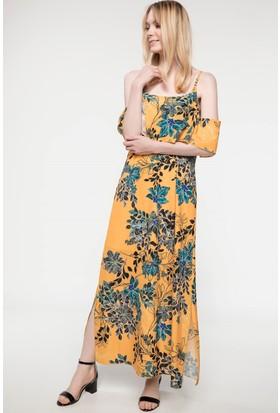 Defacto Volan Detaylı Çiçek Desenli Askılı Elbise