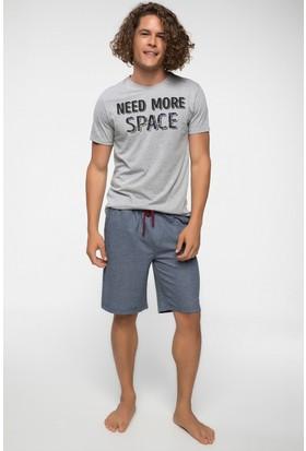 Defacto Yazı Baskılı T-Shirt Ve Eşofman Şort Altlı Pijama Takımı
