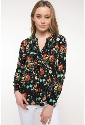 Defacto Fırfır Detaylı Çiçek Desenli Gömlek