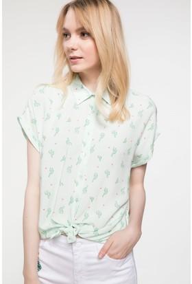 Defacto Kısa Kollu Desenli Gömlek