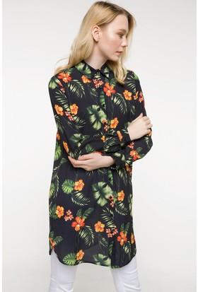 Defacto Tropik Desenli Gömlek Tunik