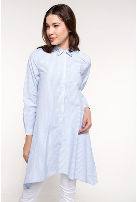 Defacto Yakası Taş Detaylı Çizgili Gömlek Tunik