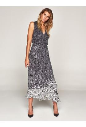 Faik Sönmez Puantiyeli Volanlı Elbise 37763