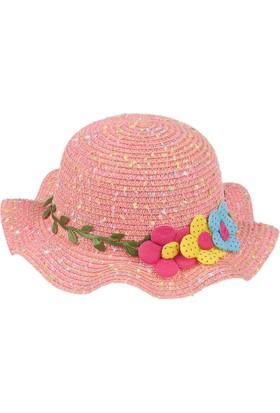 Kitti Kız Çocuk Hasır Şapka Kumsal Plaj 6-12 Yaş Pembe 7728