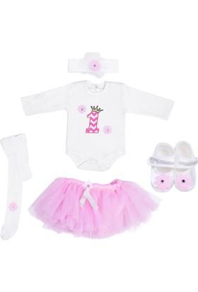 Ponpon Baby Kız Bebek Doğum Günü Özel Gün Kıyafeti 5'li Etekli Zıbın Seti 1101
