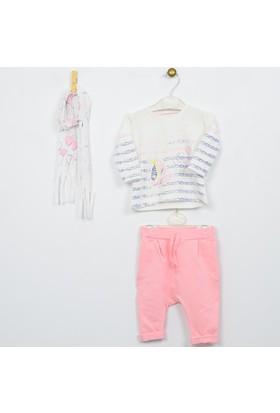 Wogi Kız Bebek T-Shirt Pantolon Atkı 3'lü Takım 0-6 Ay 5057