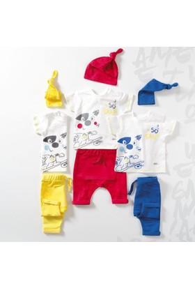 Wogi Erkek Bebek Body Şort Şapka 3'lü Takım 3-12 Ay 7405