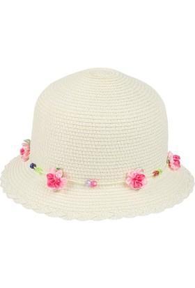 Kitti Kız Çocuk Hasır Şapka Yazlık Kumsal Plaj 6-12 Yaş Krem 7727