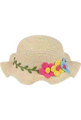 Kitti Kız Çocuk Hasır Şapka Yazlık Kumsal Plaj 6-12 Yaş Krem 7728