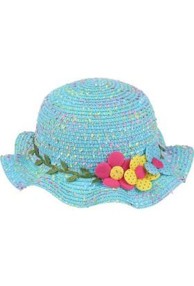 Kitti Kız Çocuk Hasır Şapka Yazlık Kumsal Plaj 6-12 Yaş Mavi 7728