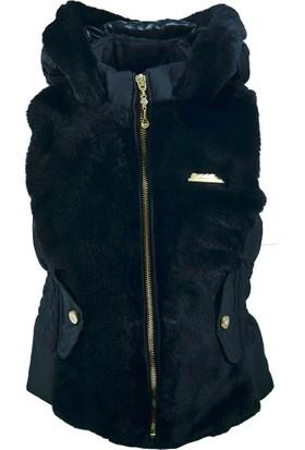 Midimod Kız Çocuk Kapüşonlu Yelek Siyah 17751