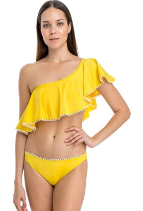 Dagi Kadın Bikini Takımı Mayo Volanlı Tek Omuz Sarı 1018Bk
