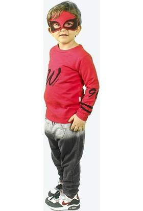 Wogi Erkek Çocuk Eşofman Takımı Maskeli 3 4 5 6 Yaş 7271 Kırmızı