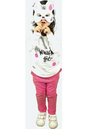 Wogi Kız Çocuk Eşofman Takımı Maskeli 3 4 5 6 Yaş 7284 Koyu Pembe