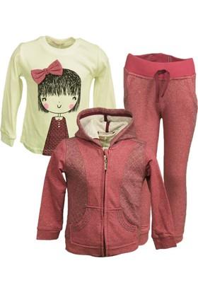 Midimod Kız Çocuk Eşofman Takımı 3 Parça Hırka T-Shirt Pantolon 3-7 Yaş Vişne