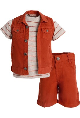 Midimod Erkek Çocuk T-Shirt Yelek Şort 3'lü Takım 2-6 Yaş M18559