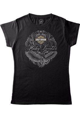 Art T-Shirt - All Logos Of Harley Davıdson Kadın Tişört
