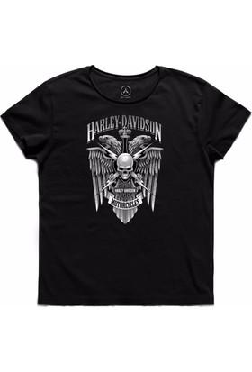 Art T-Shirt - Harley Davıdson Skull Wıngs Erkek Tişört