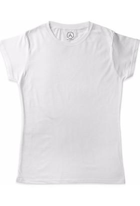 Art T-Shirt - Art T-Shirt Basic Beyaz Kadın Tişört