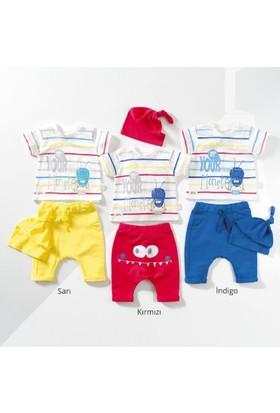 Wogi Erkek Bebek Body Şort Şapka 3'lü Takım 3-12 Ay 7408