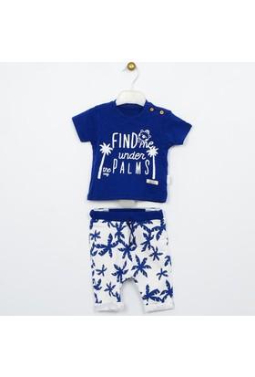 Wogi Erkek Bebek T-Shirt Pantolon Şapka 3'lü Takım 0-12 Ay 7404