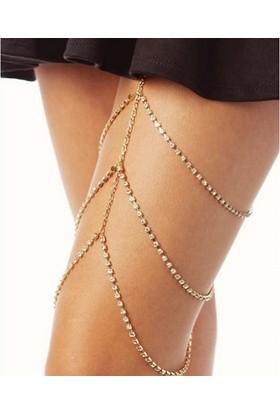 Hane14 Kristal Taşlı 3 Sıra Bacak Takısı Gold