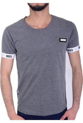 Tobi Kol Baskılı Erkek Bisiklet Yaka Tshirt - 18-1E695006