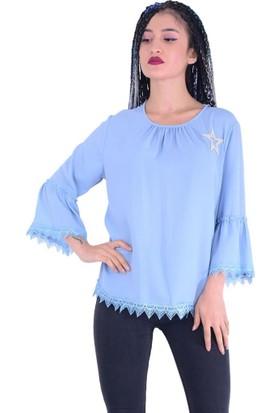 Estelle - Bilge Yılmaz 5412 Yıldız Desenli Kadın Bluz - 18-1B571055