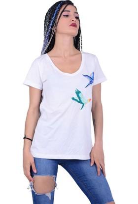 Qu Style 11082 Kadın Kuş Desenli Tshirt - 18-1B732005