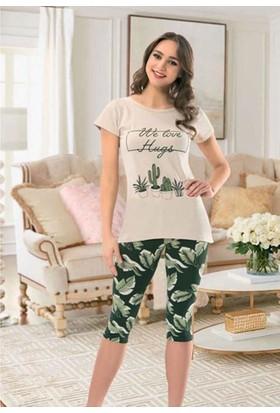 Nbb 66279 Tayt Tunik Pijama Takımı Bej