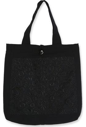 Momandkash Siyah Nakış Desenli Omuz Çantası