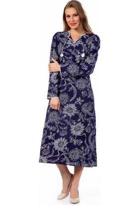 Eliş Şile Bezi Uzun Kol Baskılı Elbise Çınar Desen