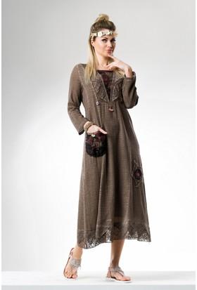 Eliş Şile Bezi Uzun Kol Hürrem Elbise