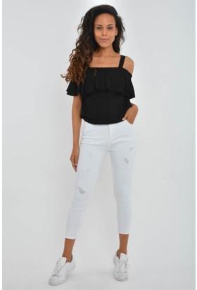 Rodin Hills Beyaz Bayan Kot Pantolon 390