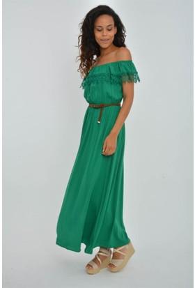 Rodin Hills Yeşil Madonna Yaka Uzun Elbise 100983
