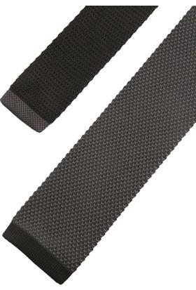 La Pescara Füme Düz Siyah Detaylı Örgü Kravat 8237